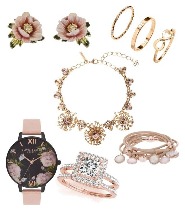 """rosegold jewelry"" by mary-minge on Polyvore featuring Les Néréides, Marjana von Berlepsch, Allurez, Olivia Burton, Oscar de la Renta, H&M, love, Silver, roses and rosegold"