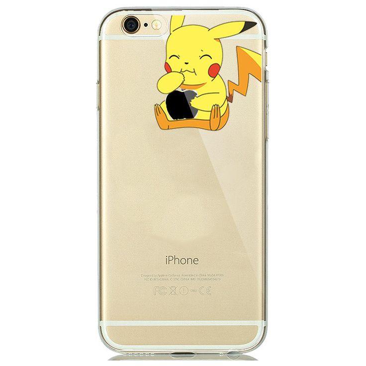 Cute Cartoon Touch Logo Design Soft Clear TPU Case Cover for fundas iPhone 7 PLUS 6 6s 5s 5 SE Snow White Mermaid Joker Pikachus