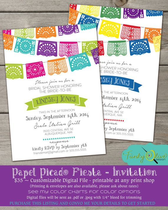 Papel Picado Mexican Paper Banner Fiesta Wedding Invitation - DIGITAL FILE- Rehearsal Dinner, Bridal Shower, Wedding, Baby Shower, Party