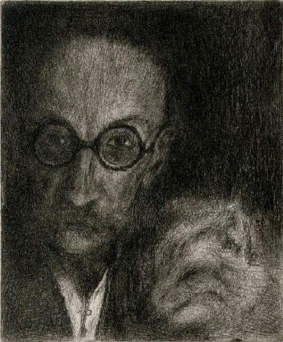Bohuslav Reynek, Autoportrét s kočkou (self -portrait with a cat)