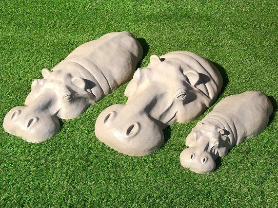 3 Stone Resin Hippo Hippopotamus Birthday Gifts Christmas Gift Garden Sculptures