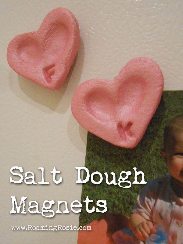 Heart Shaped Salt Dough Fingerprint Magnets