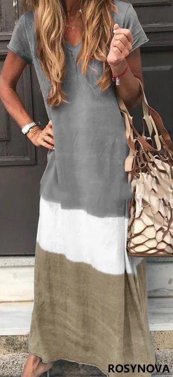 SHOP NOW>>$38.99 USD SALE V Neck Casual Short Sleeve Maxi Dresses