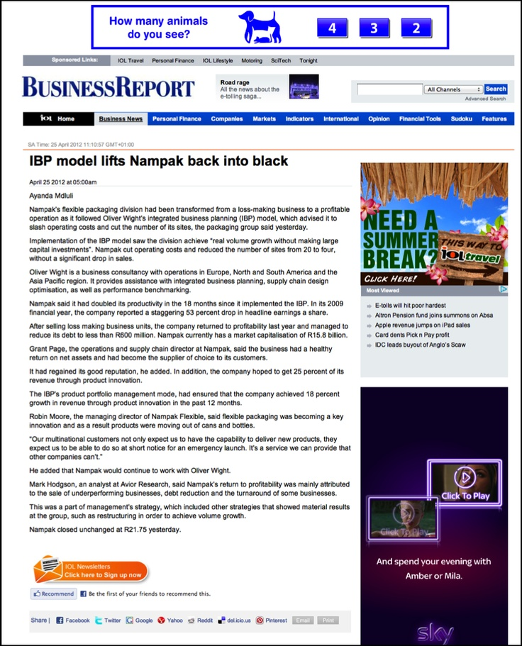 Coverage for Oliver Wight EAME on helping Nampak Flexible turn its business around - in South African newspaper The Star #Journalism #PR