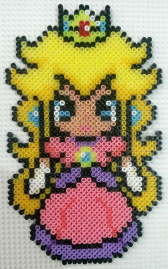 Princess Peach perler beads by CielHargreaves on deviantART