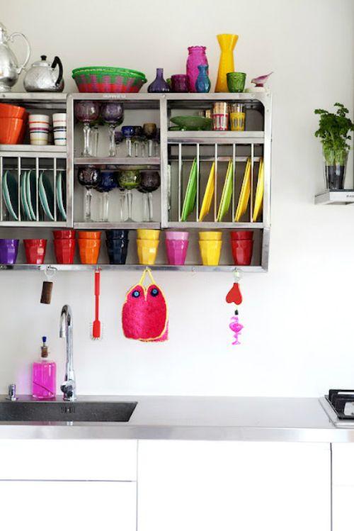 I'd love to do this!: Boho Chic Kitchens, Kitchens Design, Kitchens Colour, Drömhem 12, Bohem Stili, Plates Racks, Bohemian Kitchens, Colors Kitchens, Kitchens Storage