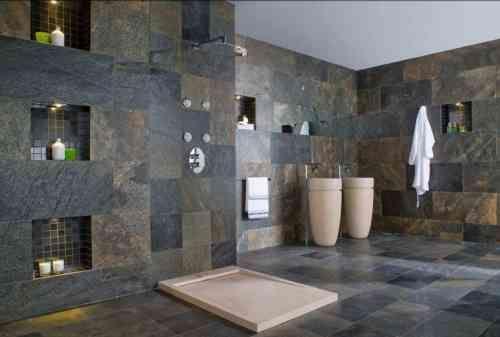 ardoise et salle de bain carrelée par Porcelanosa                              …