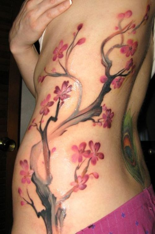This is gorgeous. I just don't think I'd want it permanent... ~ Laura   Sakura Cherry Blossom #Tattoos