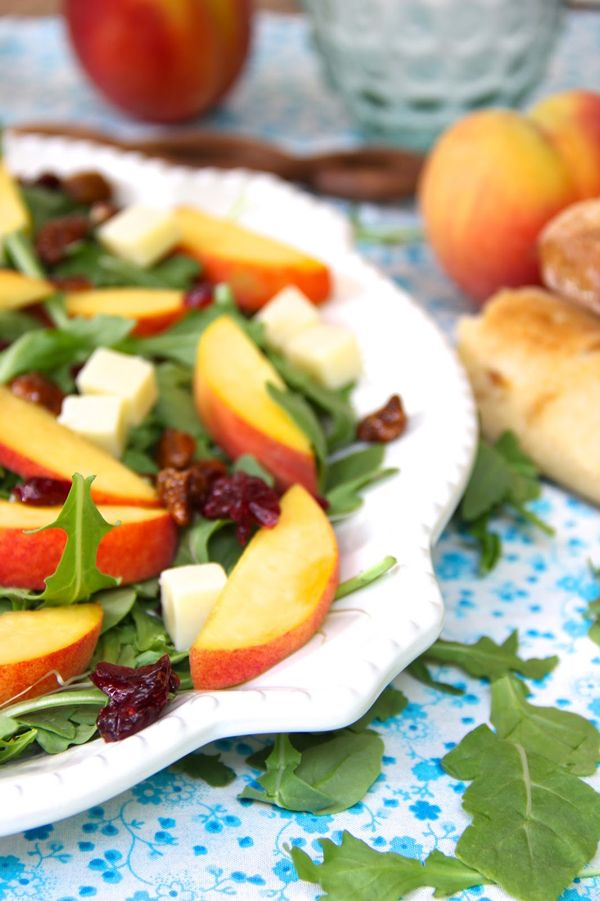 Pair this summer salad with Sutter Home Moscato for the perfect flavor combinations!Salad Sounds, Summer Meals, Salad Dresses, White Wine, Summer Salad, White Cheddar, Favorite Recipe, Peaches Salad, Go To Salad