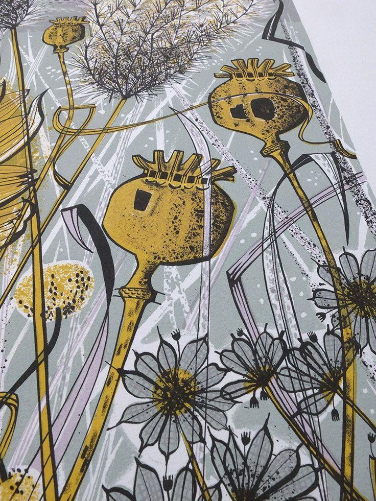 Angie Lewin - Autumn Garden, Norfolk - screen print detail