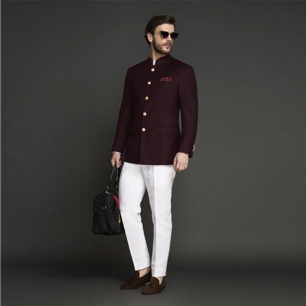 Signature Burgundy Jodhpuri Suit Custom Made By A I Designer