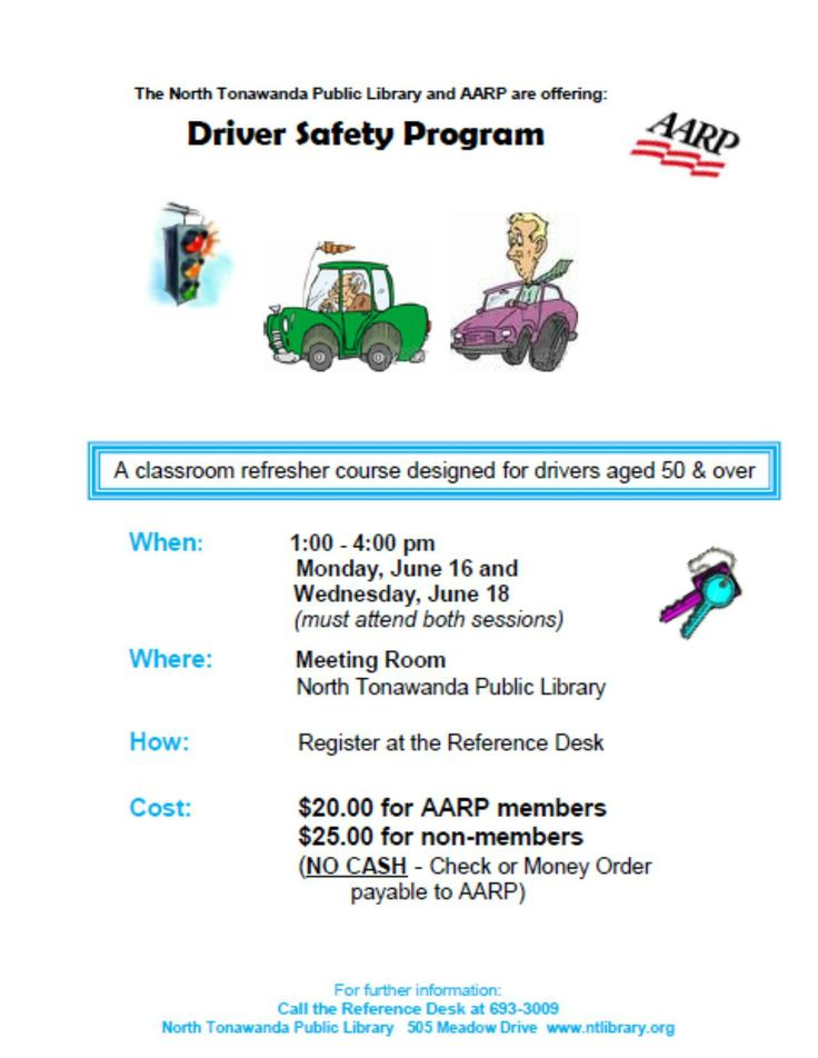 AARP will be offering their Defensive Driving Course this June on Monday June 16 & Wednesday June 18 from 1-4 pm. You must attend both sessions in order to receive credit! You may sign up at the Reference Desk any time until the session.