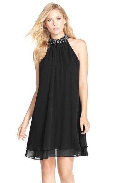 Eliza J Beaded Neck Chiffon Shift Dress available at #Nordstrom