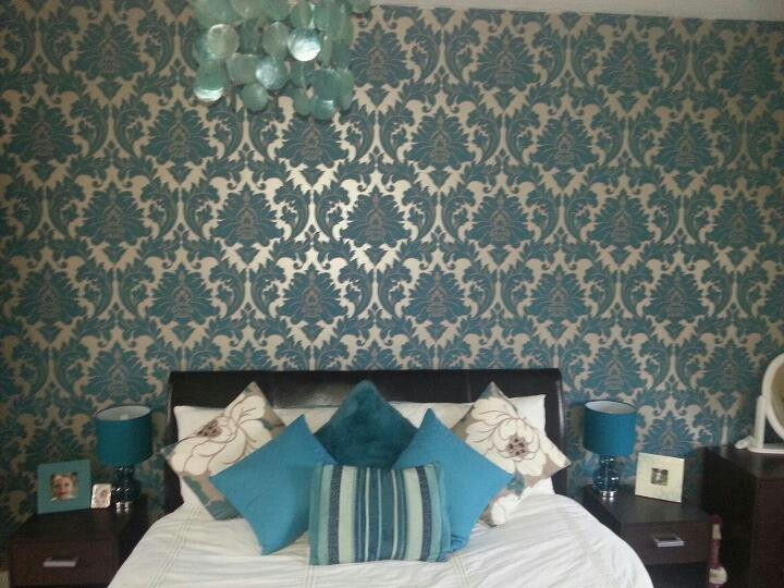 Teal damask bedroom using graham and brown paste the wall for Damask wallpaper bedroom ideas