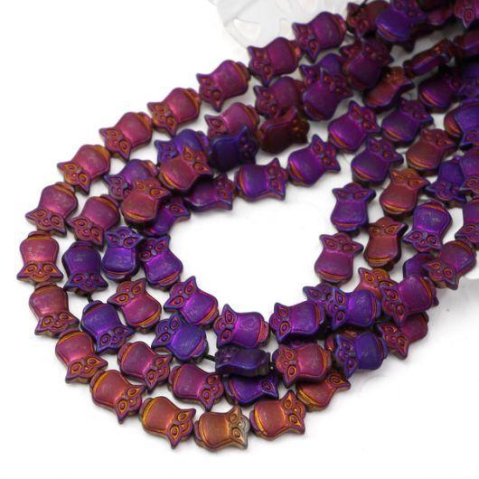 Hematyt purpurowy sówka matowa 10mm