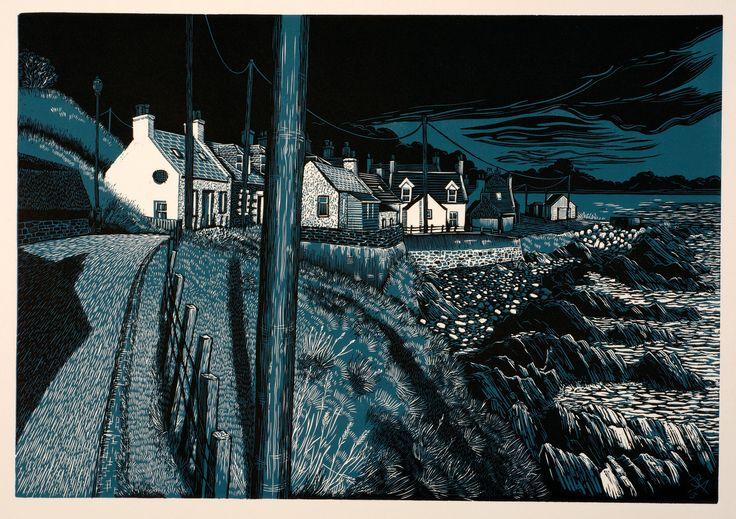 "Bryan Angus (Scottish Artist) Lino Prints: ""Sandend Storm"". bryanangusart.com"