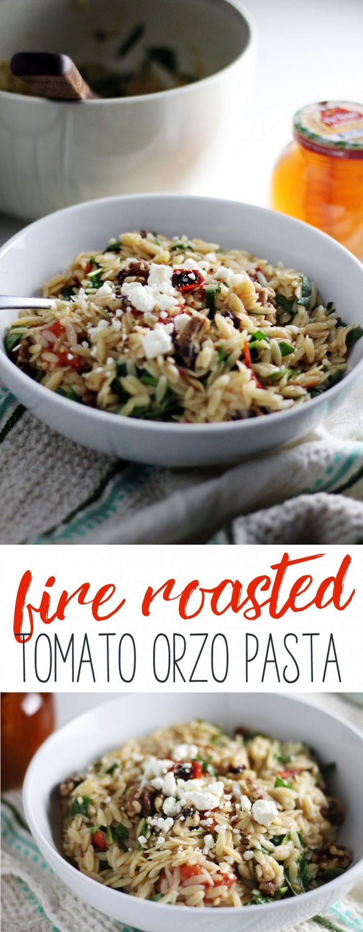 Fire Roasted Tomato Orzo Pasta #ad You have to try this amazing orzo pasta salad with a sweet + tangy honey lemon dressing, tossed with fire roasted tomatoes, fresh spinach, walnuts and feta cheese. So delicious! #DonVictorHoney #happyhealthyhoney