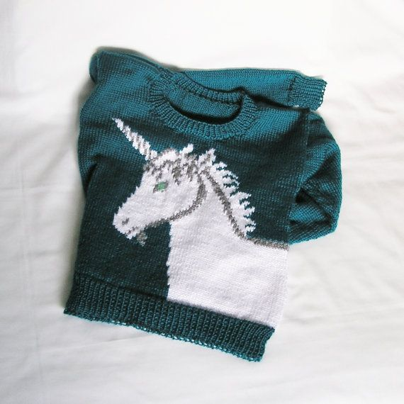 Unicorn Jumper Knitting Pattern : Made to order womens unicorn sweater knitted custom color