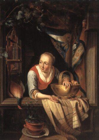 Een jonge vrouw met een mand met appels in een venster. Jaar: ? Particulier bezit. Naar Gerrit Dou: Jonge vrouw in een venster met een koperen schaal met appels en een dode fazant. 1663