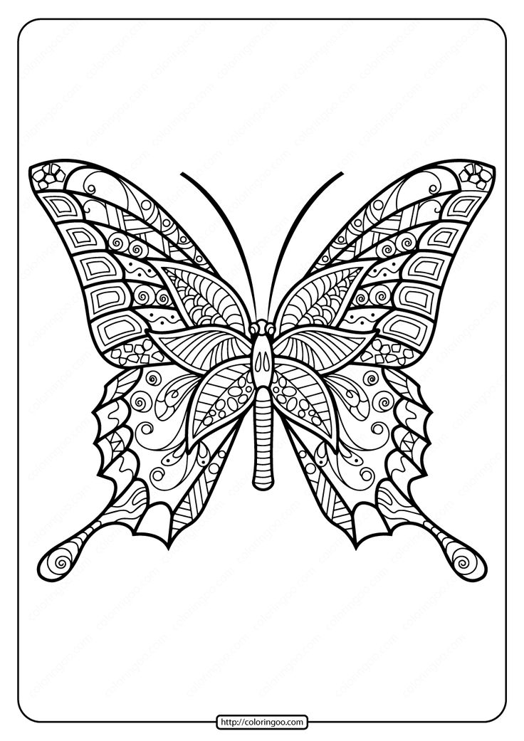 Printable Butterfly Mandala PDF Coloring Pages 42 in 2020