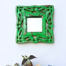 New pea green shabby chic small wall mirror available now from Fuloves.
