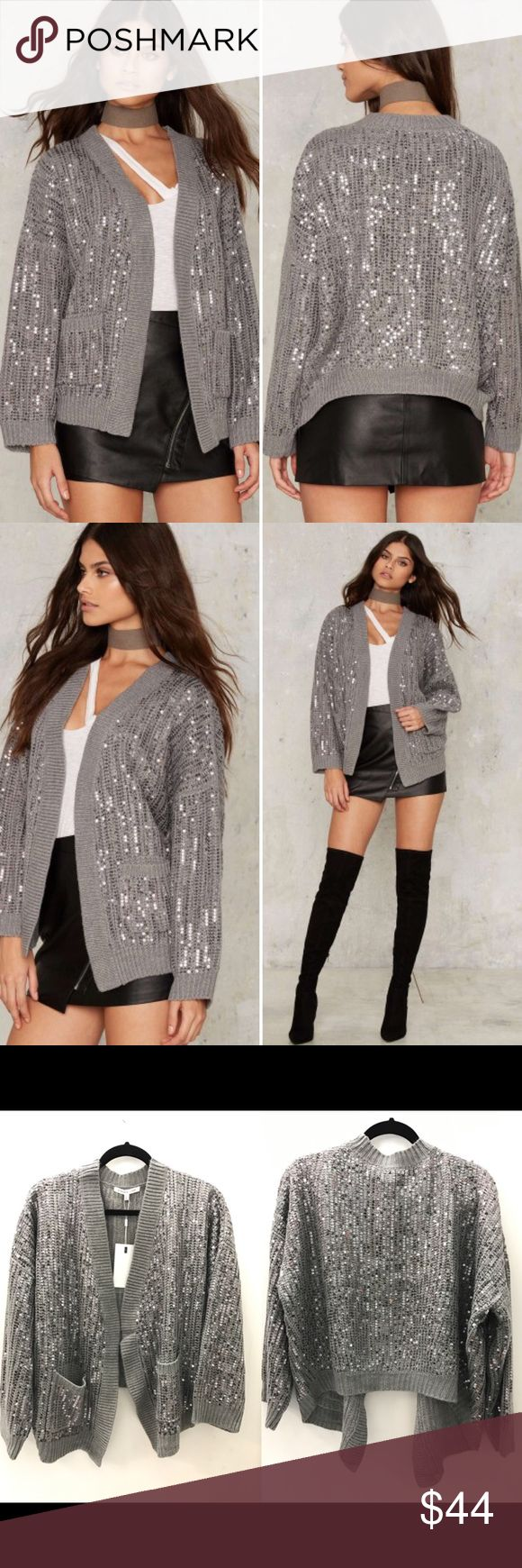 Nasty Gal Hooper Sequin Cardigan Back in a flash. The Hooper Cardigan is made in a gray ribbed knit, with an open front, relaxed silhouette, and all-over silver sequins. Made by Endless Rose, sold by Nasty Gal. Nasty Gal Sweaters Cardigans