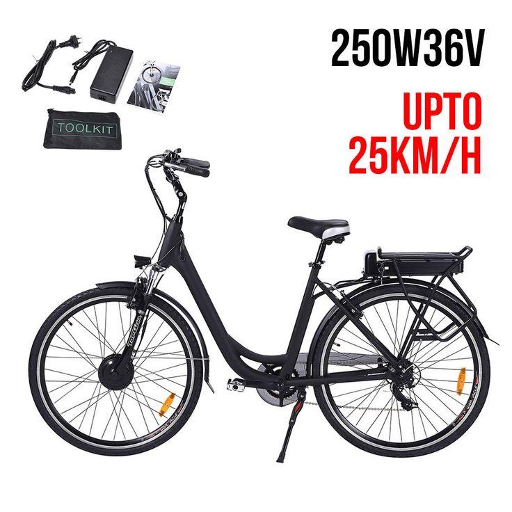 NEW Topgun EBIKE 250W 36V Electric Bike City Bicycle LED E-Bike Pedal Gear Black in Sporting Goods, Cycling, Electric Bicycles | eBay