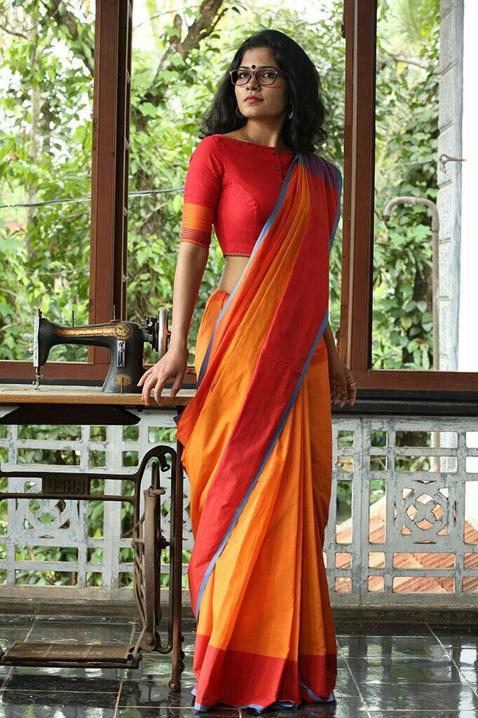 Pretty Saree in saffron mustard red