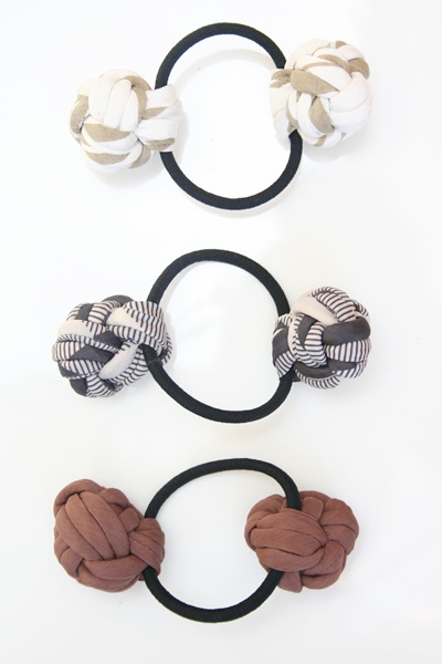 Fabric Double Ball Hair Bands