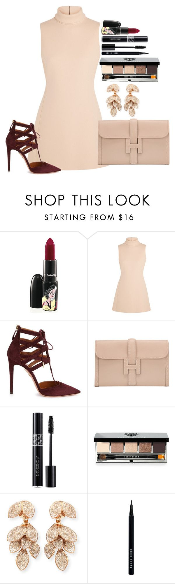 """Untitled #1199"" by fabianarveloc on Polyvore featuring MAC Cosmetics, Calvin Klein Collection, Aquazzura, Hermès, Christian Dior, Bobbi Brown Cosmetics and Pasquale Bruni"