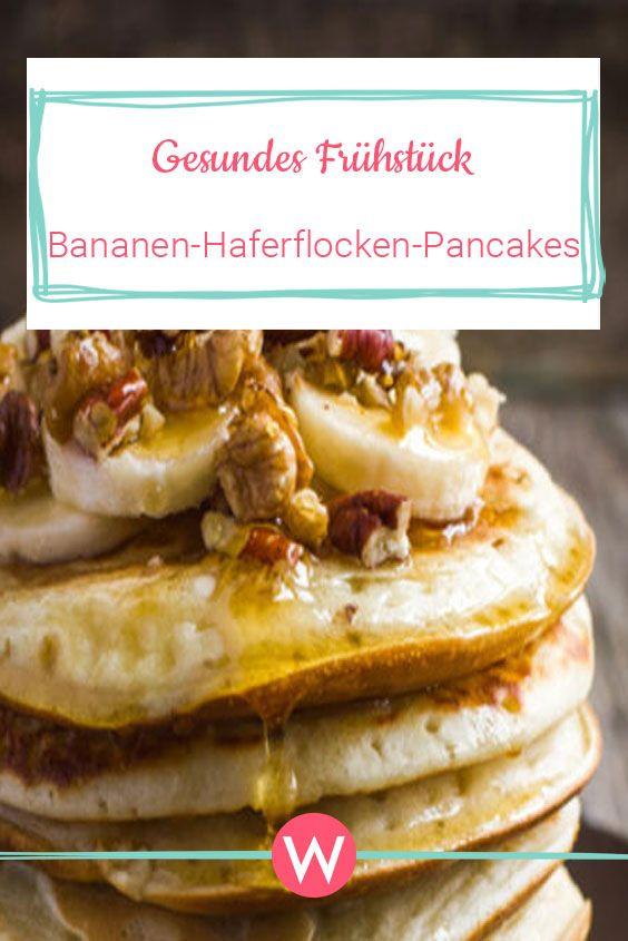 Gesunde Haferflocken-Pancakes mit Bananen