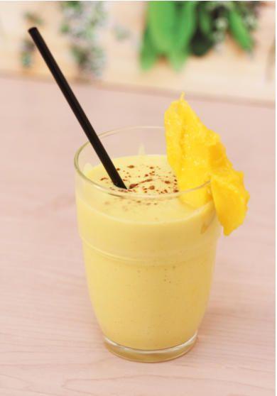 1 reife Mango (ca. 350g), in Stücken 350 g Naturjoghurt mind. 3,5% Fettgehalt 10 Zitronensaft 50 g brauner Rohrzucker 1/2 TL Zimt Bei Bedarf etwas Milch zum Verdünnen