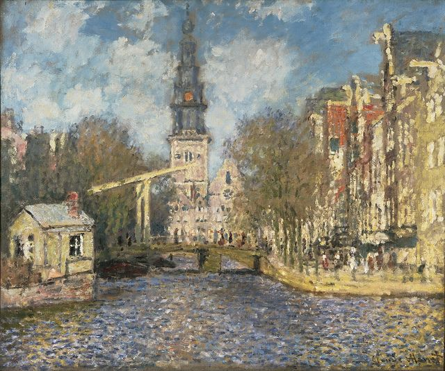Claude Monet - The Zuiderkerk, Amsterdam (Looking up the Groenburgwal) [c.1874] | Flickr - Photo Sharing!
