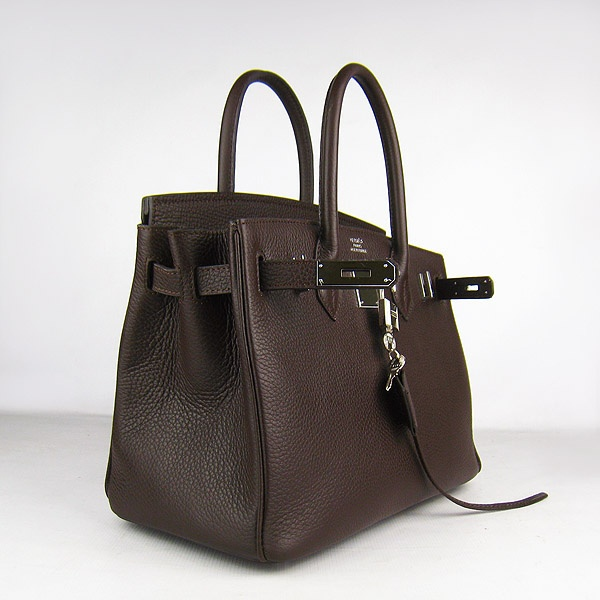 Dark Coffee Hermes 30CM Birkin Bag Clemence Leather With Gold HW Product Model: Hermes Birkin 30CM  Availability: In Stock  Color: Dark Coffee / Gold  Material: Calf Leather  Size: W30×H22×D16CM  Package: Hermes dust pouch, padlock, keys and key ornaments  Shipping: Free Price: $239