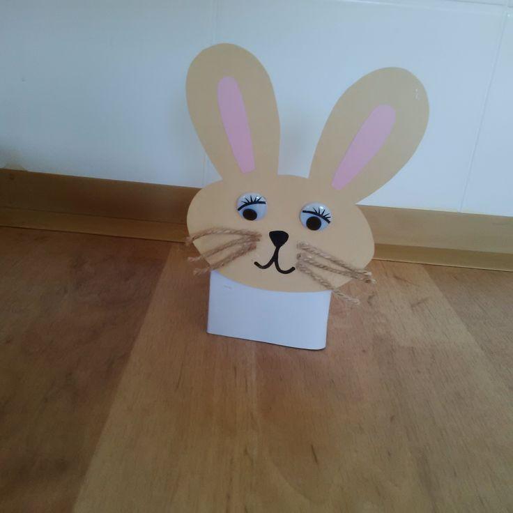 Zajíček ušáček z krabice od mléka - květináč na pažitku