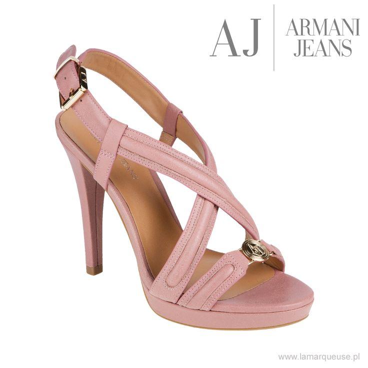 Sandały Armani Jeans, pudrowy róż, skóra naturalna, zapinane po boku na sygnowaną sprzączkę ...: #szpilki #sandalki #Armani #ArmaniJeans #trends #trendy #shoes #LaMarqueuse:...