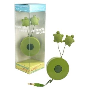 ohhh my god. These earbuds retract into their shell like a turtle! I LOVE TURTLES!!!
