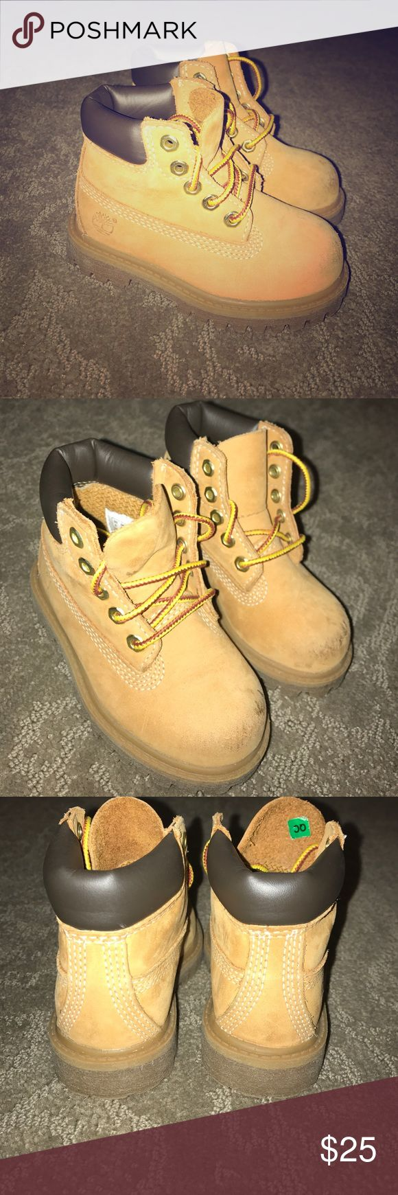 Toddler Timberland Boots Toddler Timberland Boots with minor wear on toes. Ends of laces are frayed but could be replaced. Super cute boots for boy or girl. Timberland Shoes