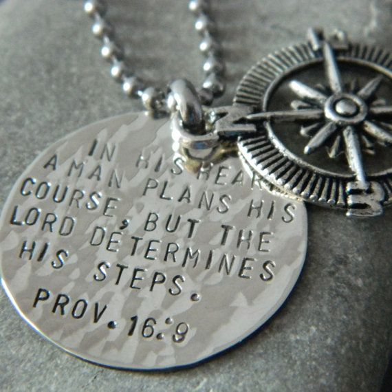 Proverbs 16 9 Inspirational Compass Handstamped by WireNWhimsy LOVE THIS!!!