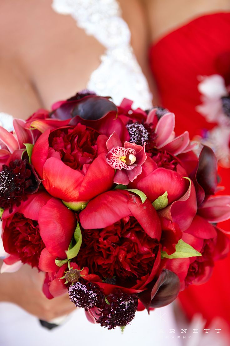 Beautiful red peonies bouquet by Jennifer Cole Forals for the bride's red themed wedding.  Luxury Wedding Photography by photographer Paul Barnett.