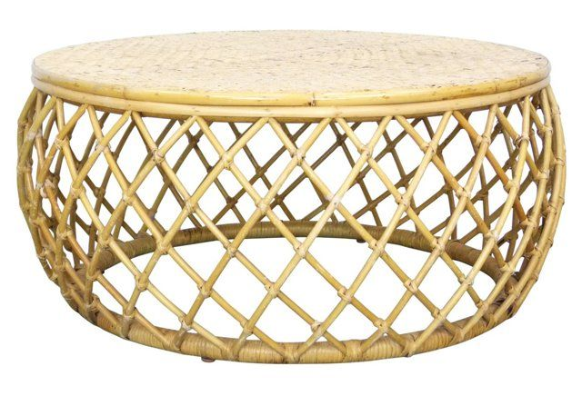 one kings lane bamboo and rattan drum vintage coffee table