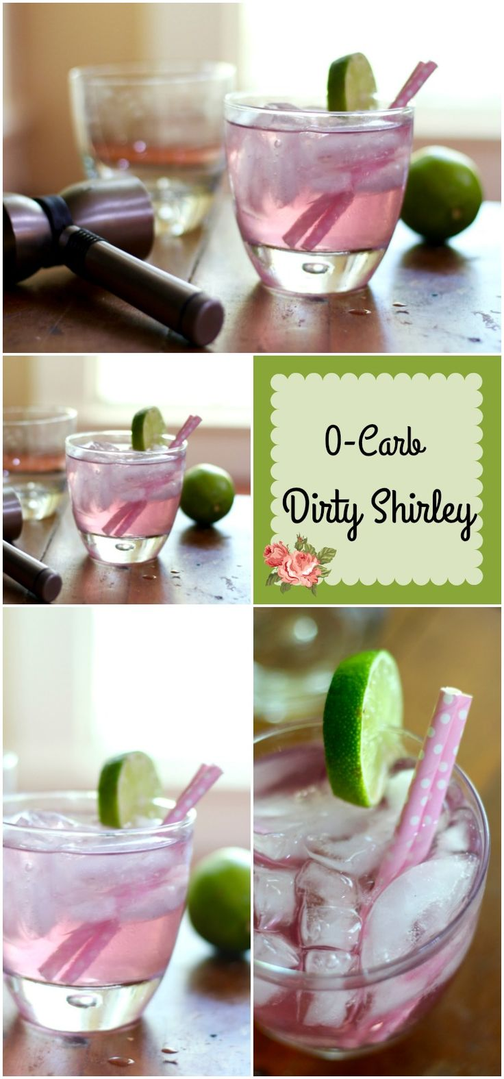 This low carb Dirty Shirley cocktail is sweet and bubbly. 0 carbs and perfect for your next girls' night out! From Lowcarb-ology.com