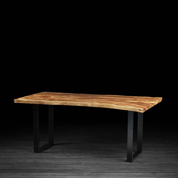 2995 Freeform Live Edge Dining Table Made From Exotic Suar Wood With Industrial Black Metal Legs