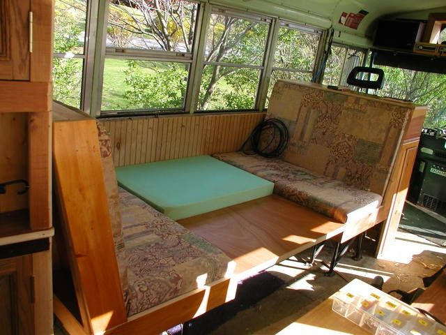 Camper remodeling ideas pictures dinette sleeper - School bus table and chair ...