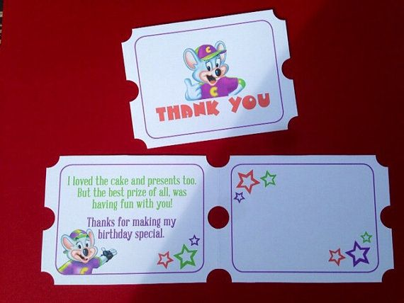 Chuck E Cheese Thank You Card by BoldandPosh on Etsy                                                                                                                                                     More
