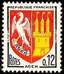 Armoiries d´Agen Armoiries des villes de France (Huitième série) - Timbre de 1964