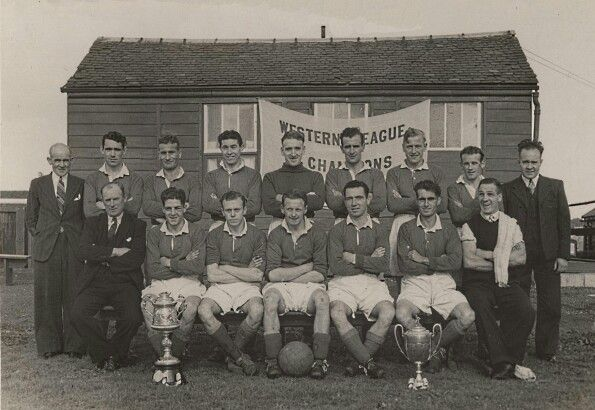 Neilston Juniors with the Renfrewshire Cup and Western League Championship Trophy (1947)