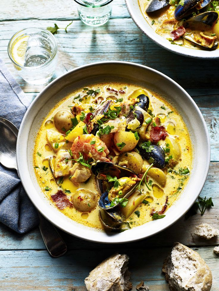 Allow potatoes to enter the mix of this delicious seafood chowder recipe brimming with mussels, squid and prawns.