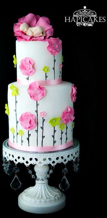 Flower Baby Shower Cake