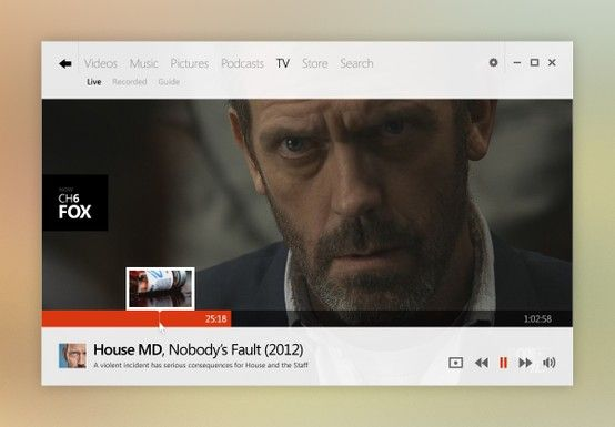 Beautiful UI designs! | From up North    I repin this mainly because HOUSE is the video! :)